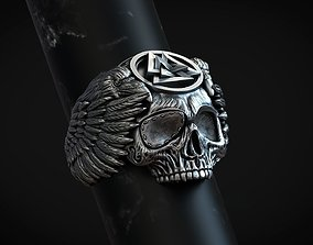 Ring skull Odin Viking with ravens and valknut for 3d 1