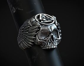 Ring skull Odin Viking with ravens and valknut for 3d