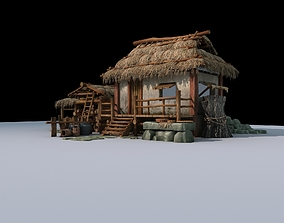 3D model Cottages and thatched huts Grass-roofed earthen