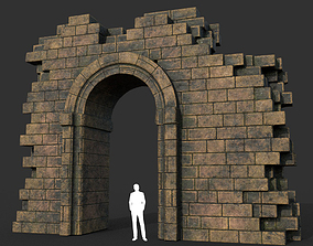 3D asset Low poly Ancient Roman Ruin Construction R1 - 1