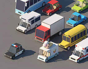 3D model Cartoon Low Poly Cars Pack
