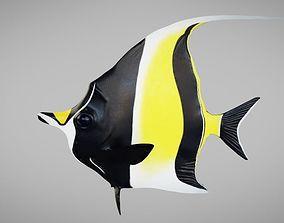 3D asset rigged moorish idol fish