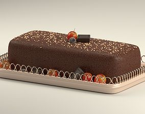 sesame Cake with Berries 3D