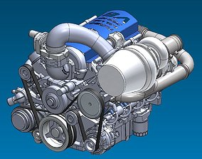Supercar System Powertrain Assembly Stage 2 3D
