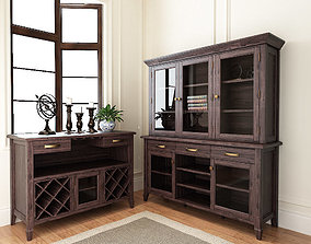 American country style dinning cabinet 3D model
