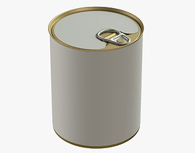 3D model canned food round tin metal aluminium can 1