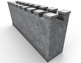 Stone wall ancient 3D asset low-poly