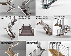 classic modern stairs set stairway 3D model