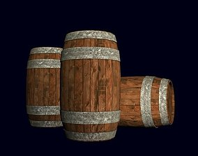3D model Wooden Metal Barrel