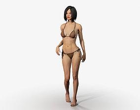 3D asset Rigged Asian Style Woman Wearing Bikini