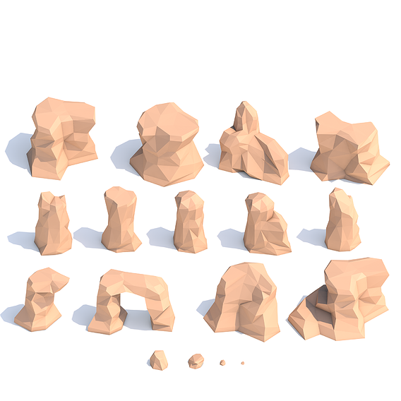 Lowpoly desert rocks - cartoon rock set