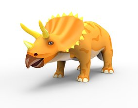 animated 3D Cartoon Triceratops Dinosaur Rigged Animated