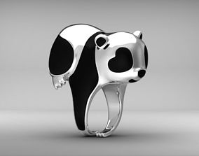 Panda ring Enamel Nature jewelry Animal jewellery 3dm stl