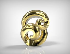Jewelry Golden Twisted Pendant 3D print model