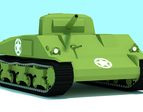rigged M4 Sherman Tank Low-poly 3D Model for mobile game 1