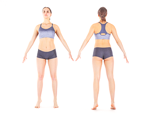 Woman sport in A pose ready for rigging 3D model
