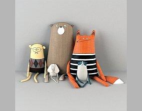 3D Textile toys giraffe fox men oldmen elephant mini set 2