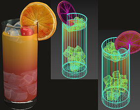 3D model glass with cocktail juice