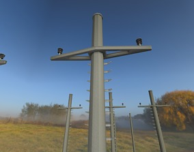 3D asset Concrete Electricity Pole with Ladder - Object