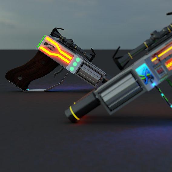 futuristic double barrel revolver