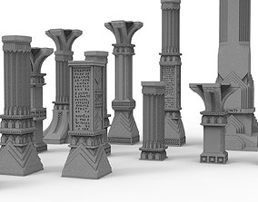 3D printable pillar and assorted bases for dwarf mine