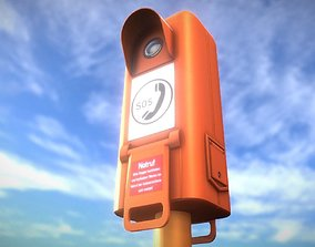 3D model low-poly Emergency Call Box
