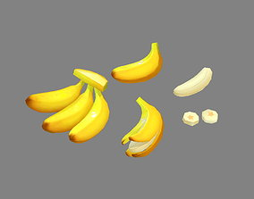 Cartoon Bananas - Banana Peel 3D asset