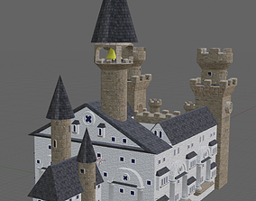 3D model game-ready Castle with Battlements
