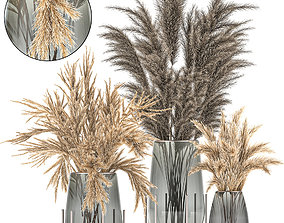 Bouquet of dried flowers in a vase 102 3D