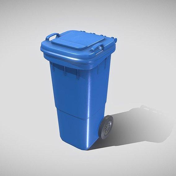 Plastic waste bin blue 60 liters 945x360x448