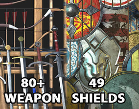3D asset Medieval Weapons and Shields Bundle