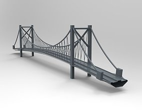 3D roadway Suspension Bridge - printable
