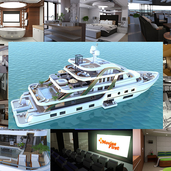 Mega Yatch With Interior 3D model Now on sale!
