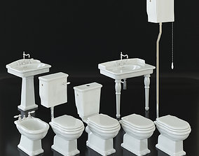 Classical bathroom furniture set - toilet bidet 3D