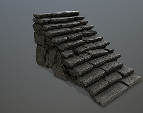 stairs stairway 3D model game-ready