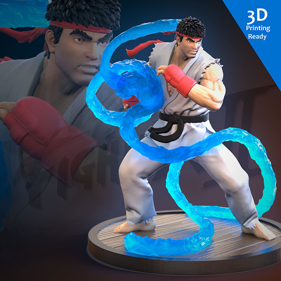 Ryu 3D Printing Ready (Fan art)