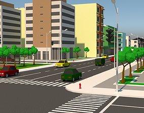 Simple City 3D model low-poly