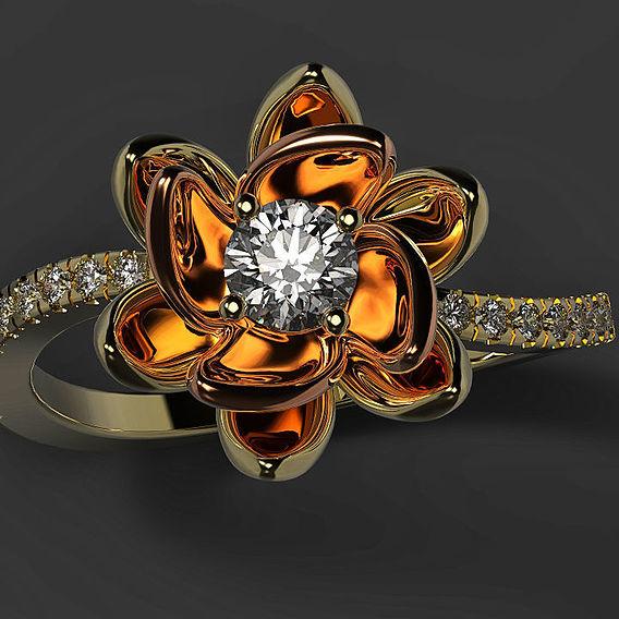 Beautiful flower ring 3d model for print