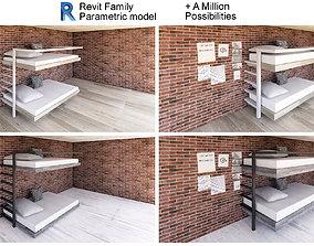 3D Bunk bed - Revit Family full parametric model