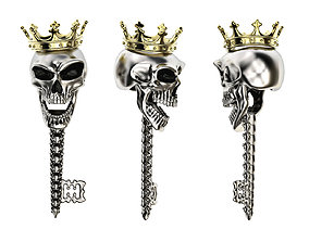 Jewelry skull pendant Skeleton key 3D print model 3