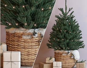 Christmas tree decorative set 3D model claus