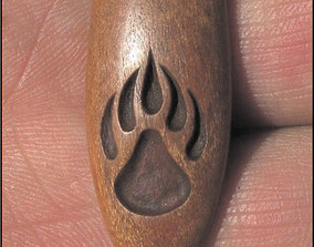Paw wood pendant with 3 others 3D model
