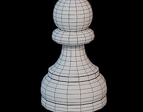 3D asset game-ready Wooden chess piece - Pawn