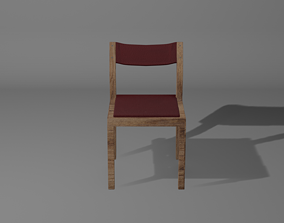 3D model The Chair with red leather pillows