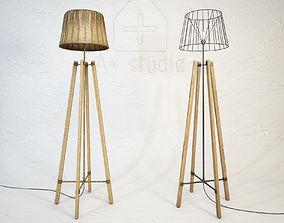 3D model Wood Wire Floor Lamp