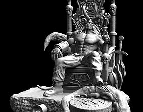 3D printable model HellBoy on throne from my discord