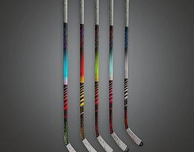 3D asset Hockey Stick Set 01a - SAG - PBR Game Ready
