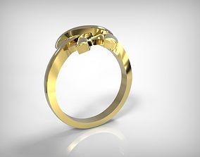 3D print model Jewelry Golden Ring Ribbon Knot Top
