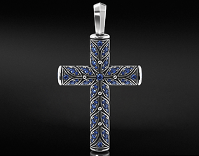 3D print model Beautiful cross with leaves and stones 652