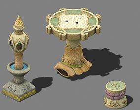 Cartoon World - Stone Table Stool 3D model